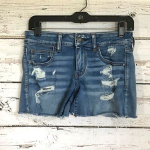 American Eagle Distress Blue Jean Shorts